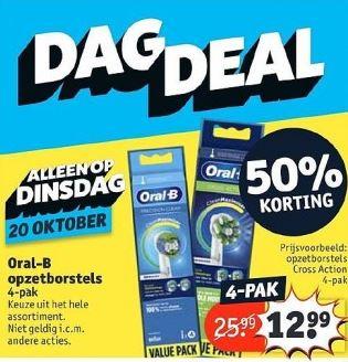 Kruidvat Dagdeal di 20/10: Alle Oral-B 4 pack opzetborstels 50% korting