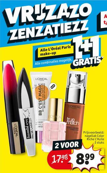 Weekendactie L'Oréal Paris make-up 1+1 @ Kruidvat