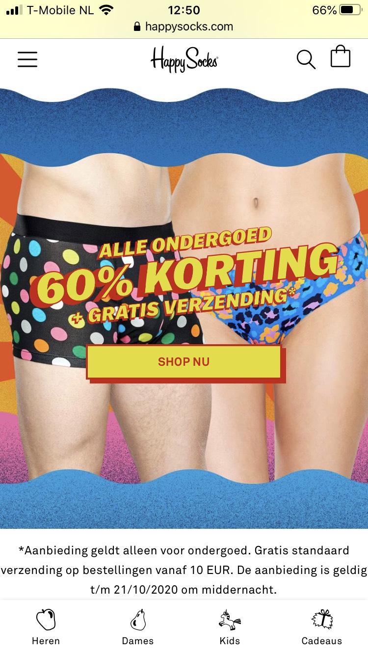 60% korting op ondergoed van Happy Socks