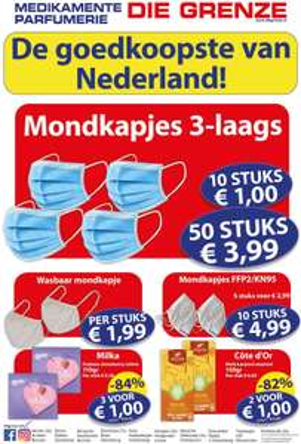 Mondkapjes 50 stuks €3,99