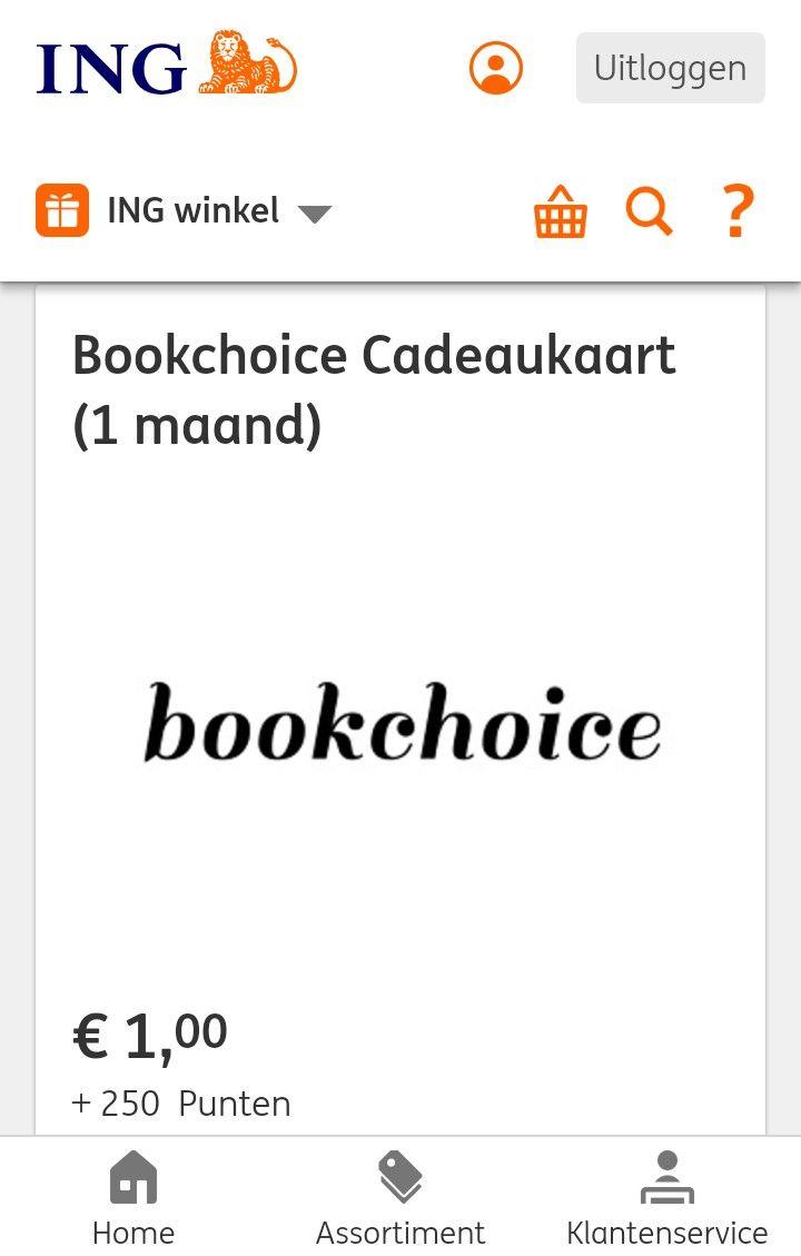 Bookchoice cadeaukaart 250 ING punten + 1 euro