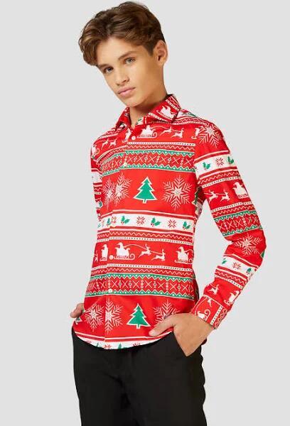 Kerst OppoSuits Winter Wonderland Overhemd maat 158/164 & 170/176 voor €8,95 @ Zalando