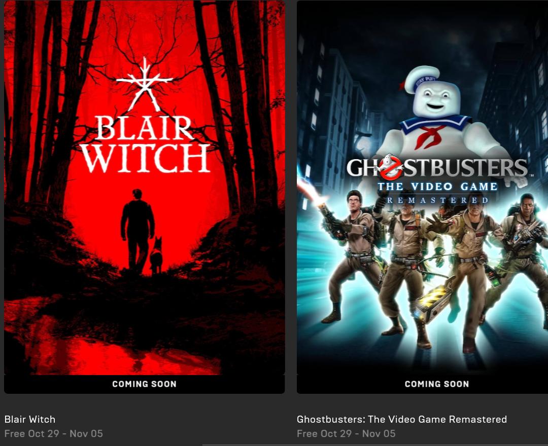 Blair Witch en Ghostbusters gratis vanaf 29 okt @ Epic Games Store