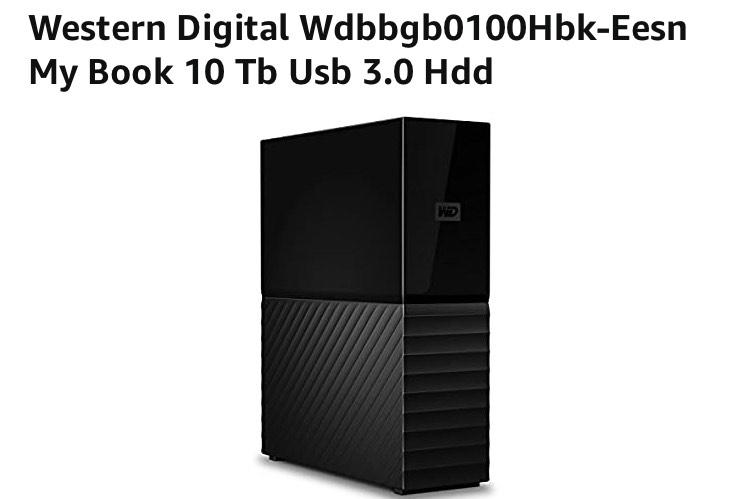 Western Digital Wdbbgb0100Hbk-Eesn My Book 10 Tb Usb 3.0 Hdd