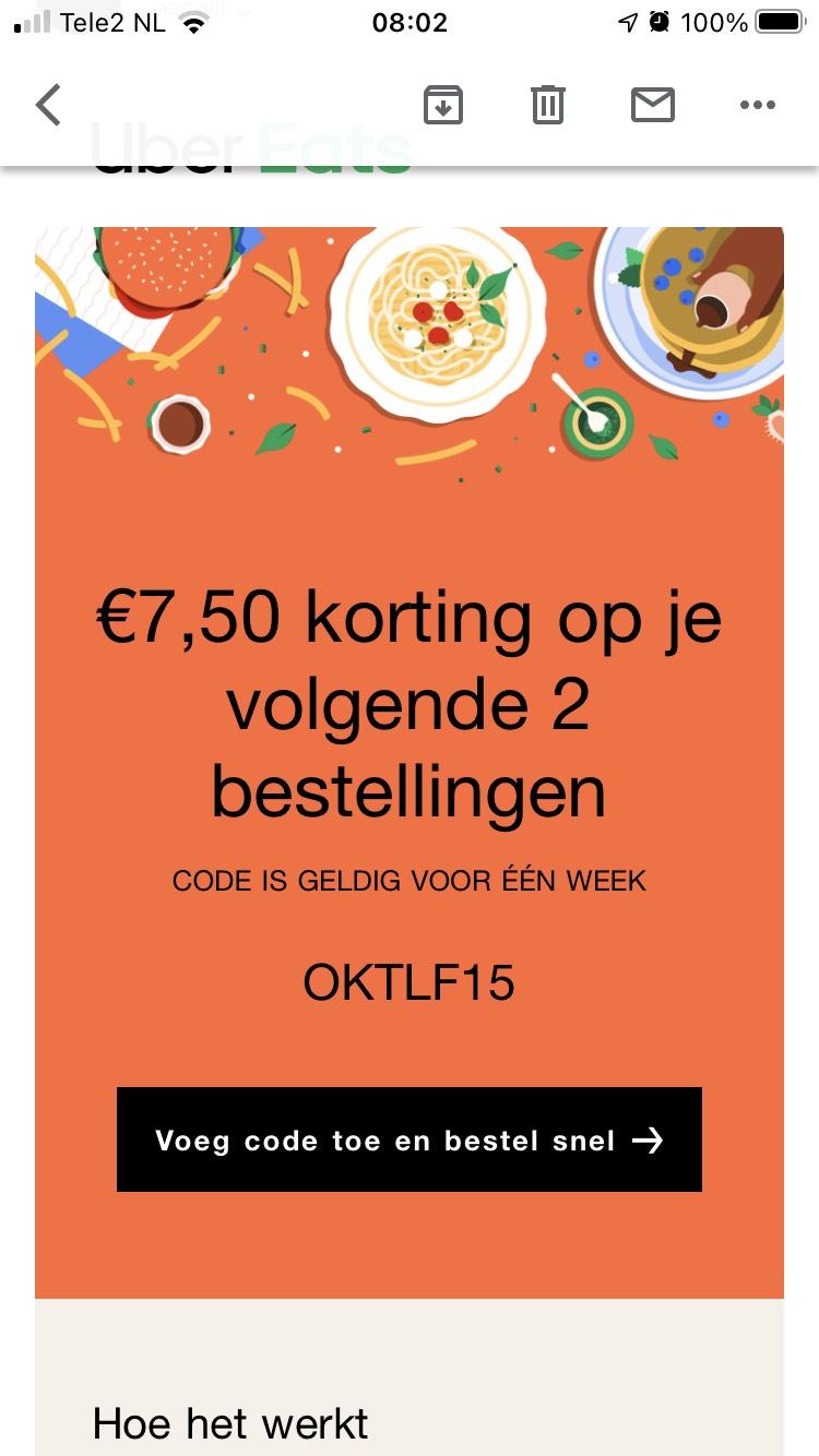 €7,50 korting bij Uber eats (min. €30 bestelwaarde)
