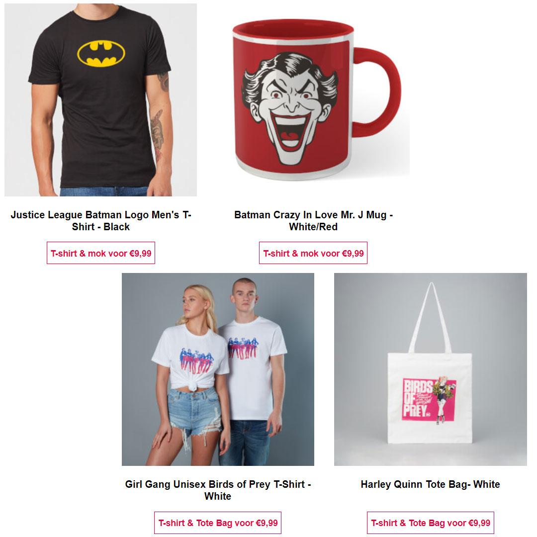 Combi deals: T-shirt + tas Birds of Prey // T-shirt + mok Batman / Joker @ Zavvi