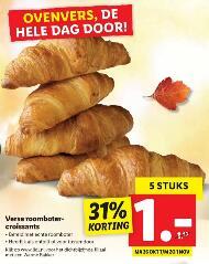 5 verse roomboter croissants voor €1 @ Lidl