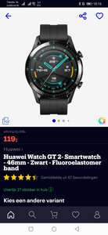 Huawei watch g2 zwart