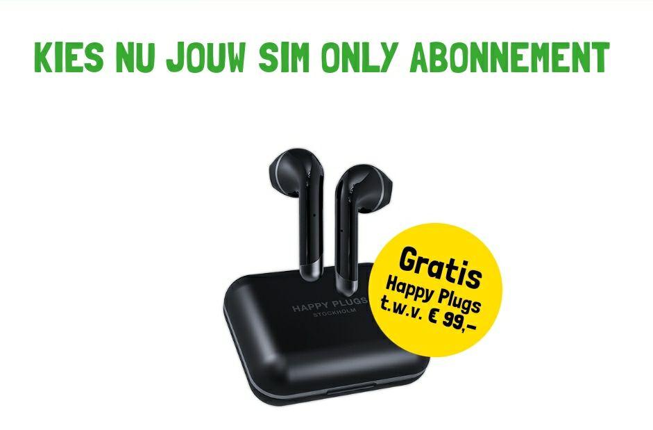 Sim Only Onbeperkt Maand Abo + Gratis Happy Plugs