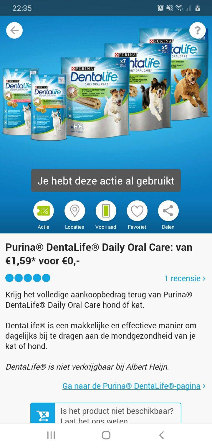 1 euro geld toe en gratis purina dentalife