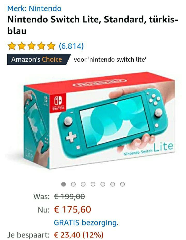 Nintendo switch lite voor €161 (bij besteding van €237,50)