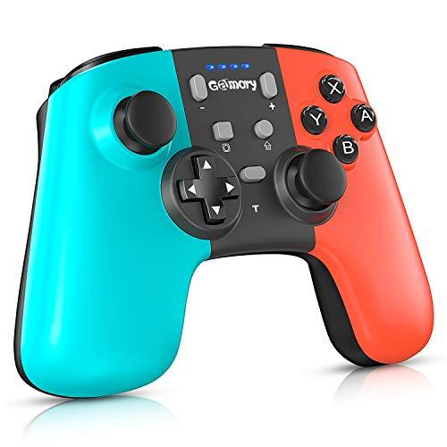 Gamory Draadloze controller voor Nintendo Switch; met bluetooth, oplaadbare batterij, en instelbare Turbo en Dual Shock joysticks
