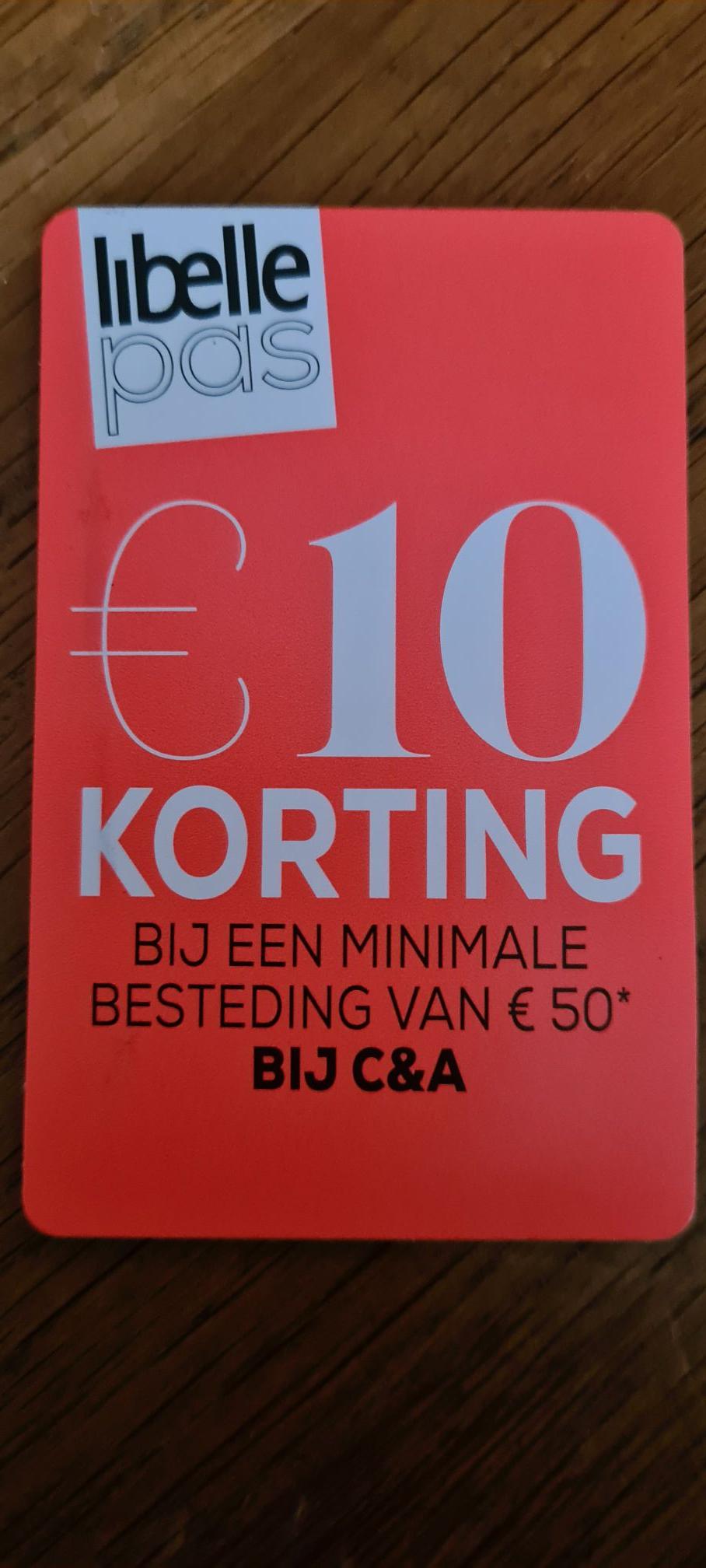 10 euro korting C&A bij besteding van 50 euro.