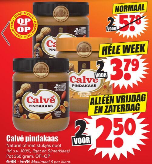 2 x Calvé pindakaas ALLEEN vrijdag & zaterdag bij DIRK (Totaal 700 gram)