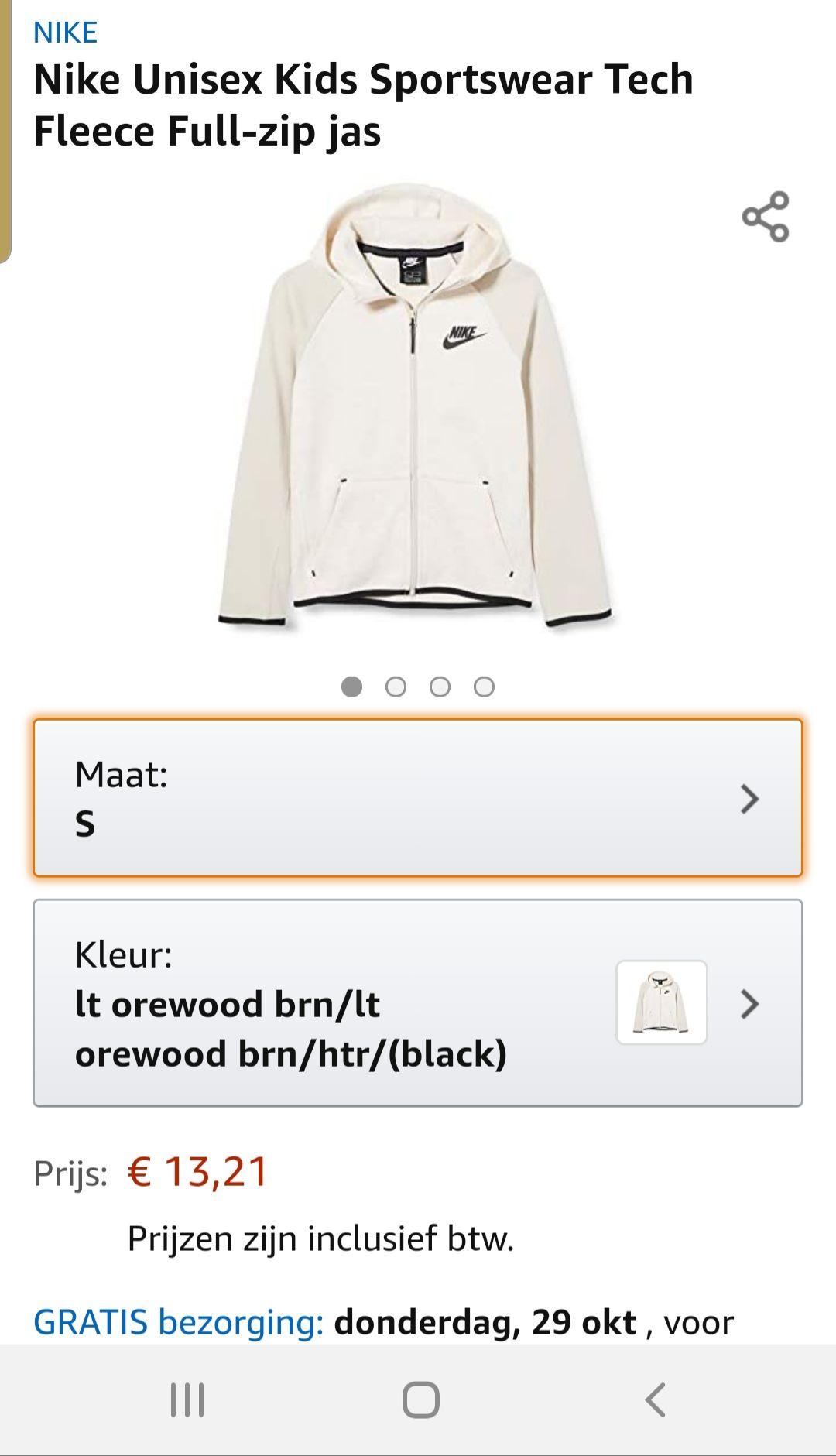 Nike Unisex Kids Sportswear Tech Fleece Full-zip jas alleen maat s