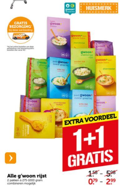 Alle g'woon rijst 1+1 gratis én gratis bezorging á €4,99, bijvoorbeeld 2 pakken Zilvervliesrijst €0,79