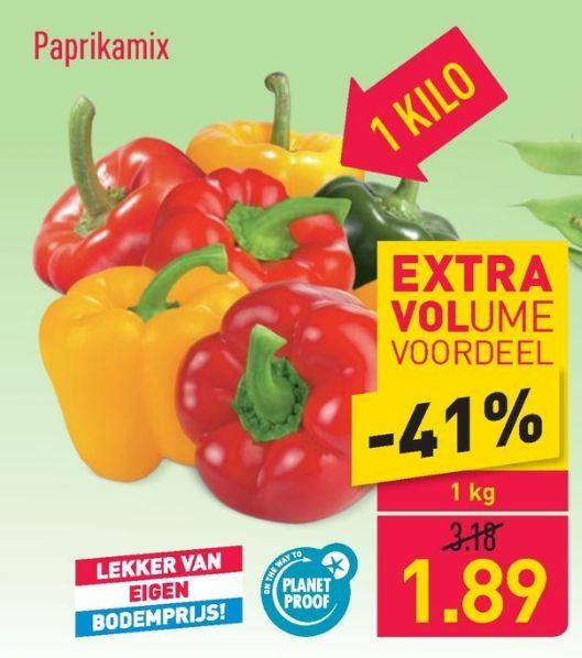 Paprika (in net) 1kg - €1.89 @Aldi