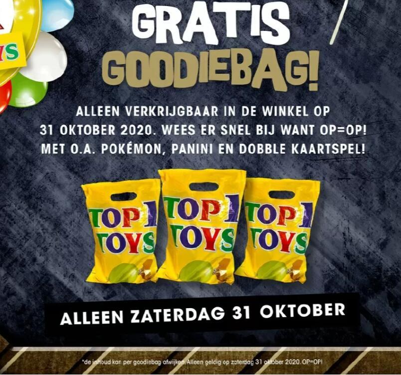 [Zaterdag 31 oktober] Gratis goodiebag bij Top1Toys - zonder aankoop