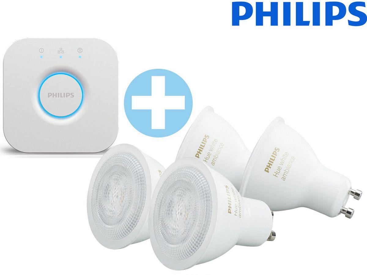 Oudere versie, Philips HUE Bridge + 4x GU10 White Ambiance