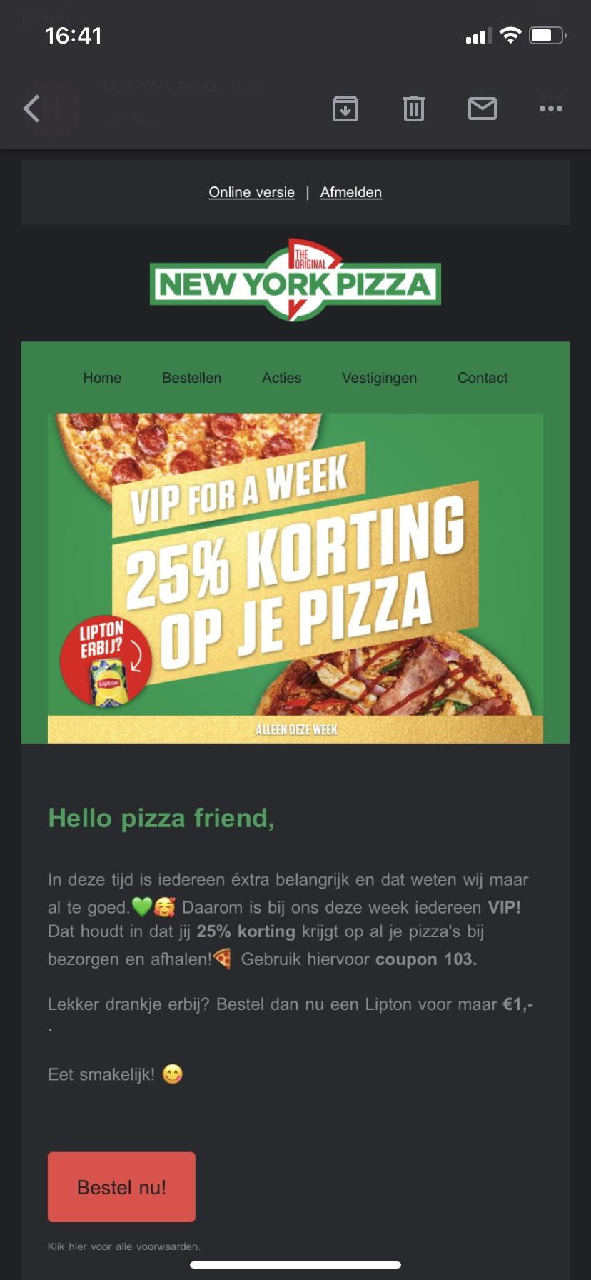 Vip korting NewYork pizza deze week