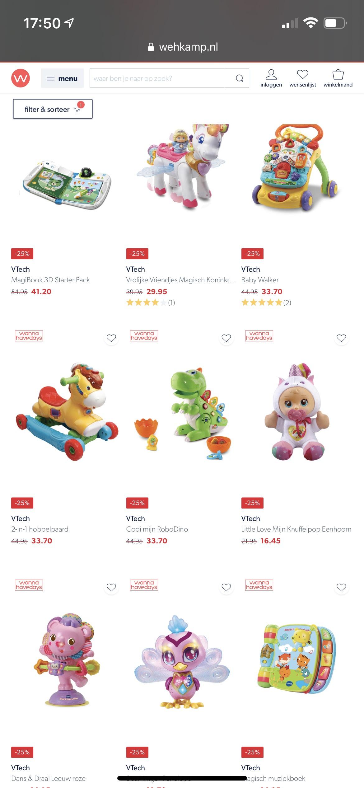 V-tech speelgoed 15-25% korting @ Wehkamp