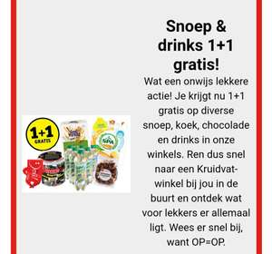 1+1 actie op koek, snoep en drinken bij kruidvat.