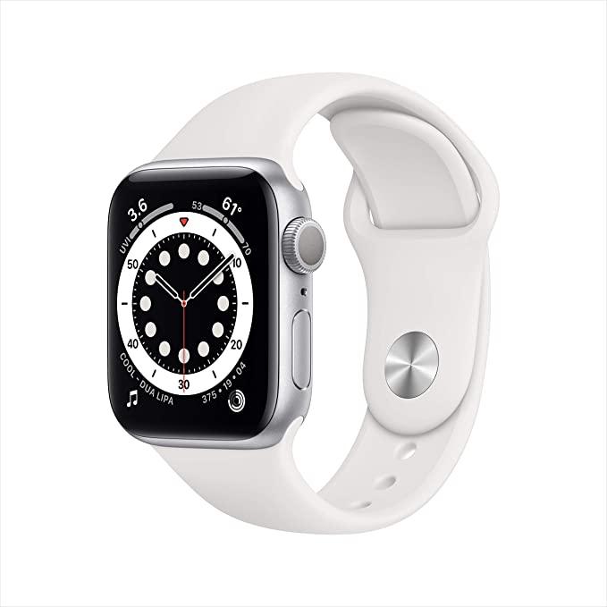 Apple Watch Series 6 (GPS, 40-mm) kast van zilverkleurig aluminium - Wit sportbandje