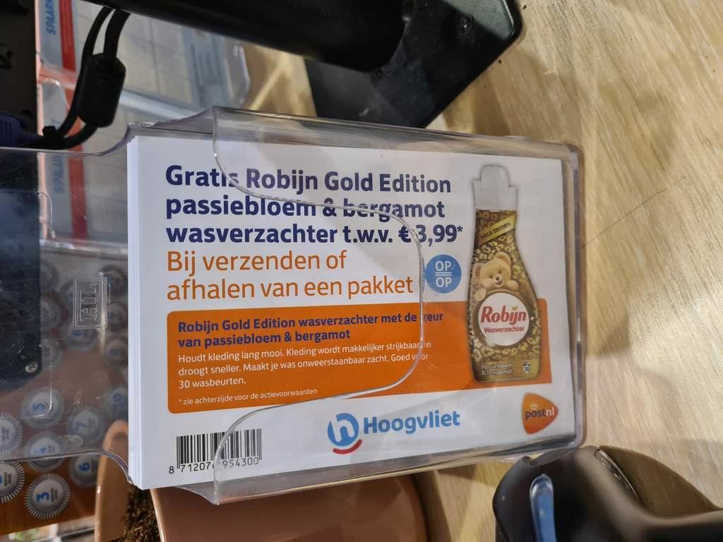 Pakketje afhalen of verzenden via Hoogvliet = Gratis wasverzachter