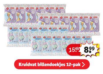 Kruidvat billendoekjes 12-pack van €16 voor €9 (alléen voor kaarthouders)