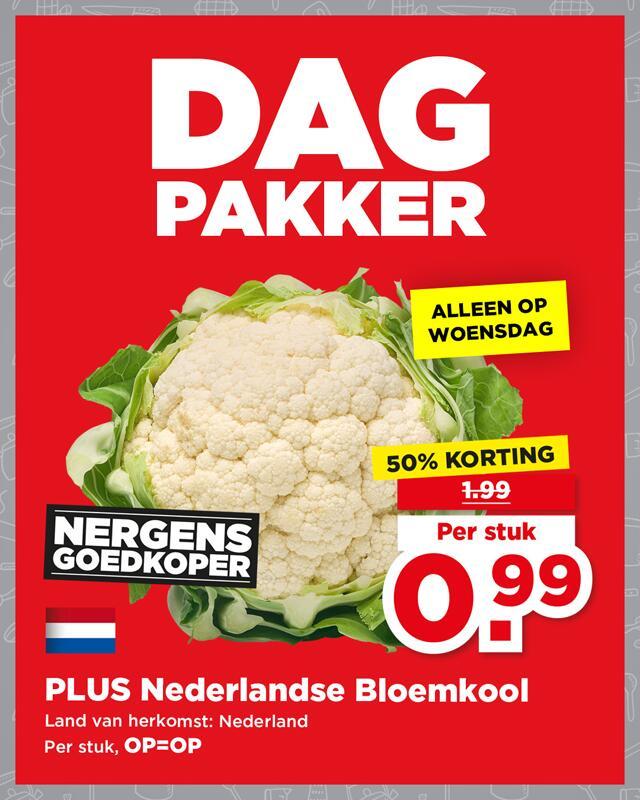 PLUS Dagpakker: Bloemkool van €2 voor €1
