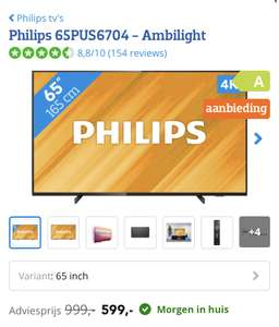 "Philips 65"" Ambilight - Philips 65PUS6704 @ Coolblue"