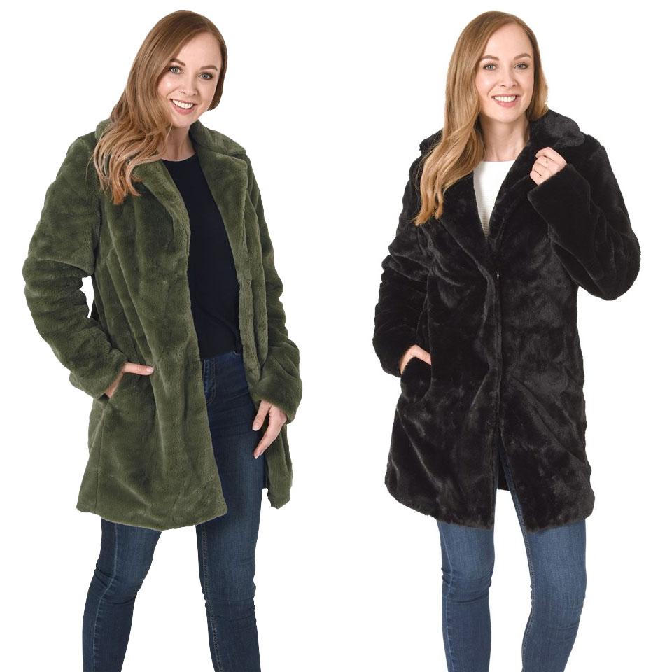 Weekactie: faux fur jas [2 kleuren - maat S t/m XL] @ Action