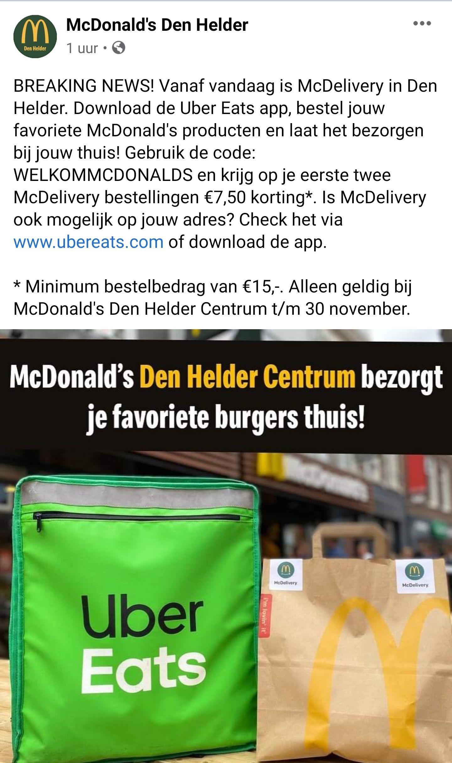 (lokaal) €7,50 korting bij bezorging McDonald's Den Helder Centrum via UberEats