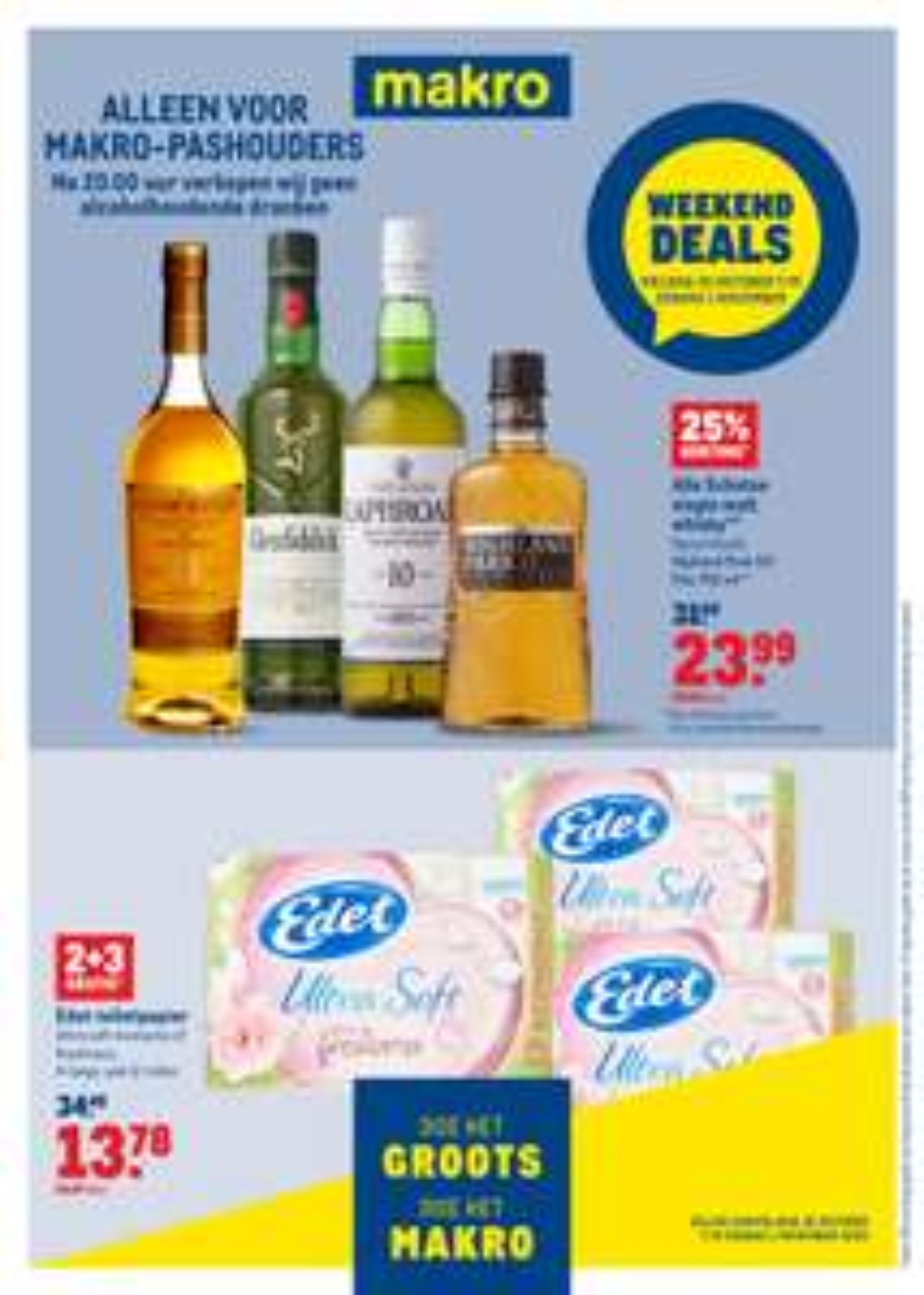 Edet Toiletpapier 2+3 gratis & 25% korting op whisky @Makro