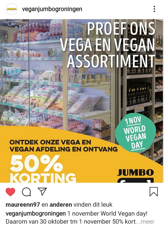 [Groningen] 50% korting op Gekoeld vegan assortiment bij jumbo foodmarkt