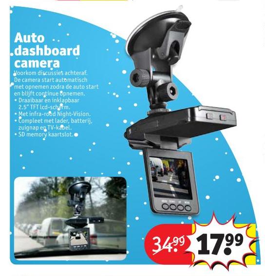 Auto Dashboard Camera voor €17,99 @Kruidvat (maandag)