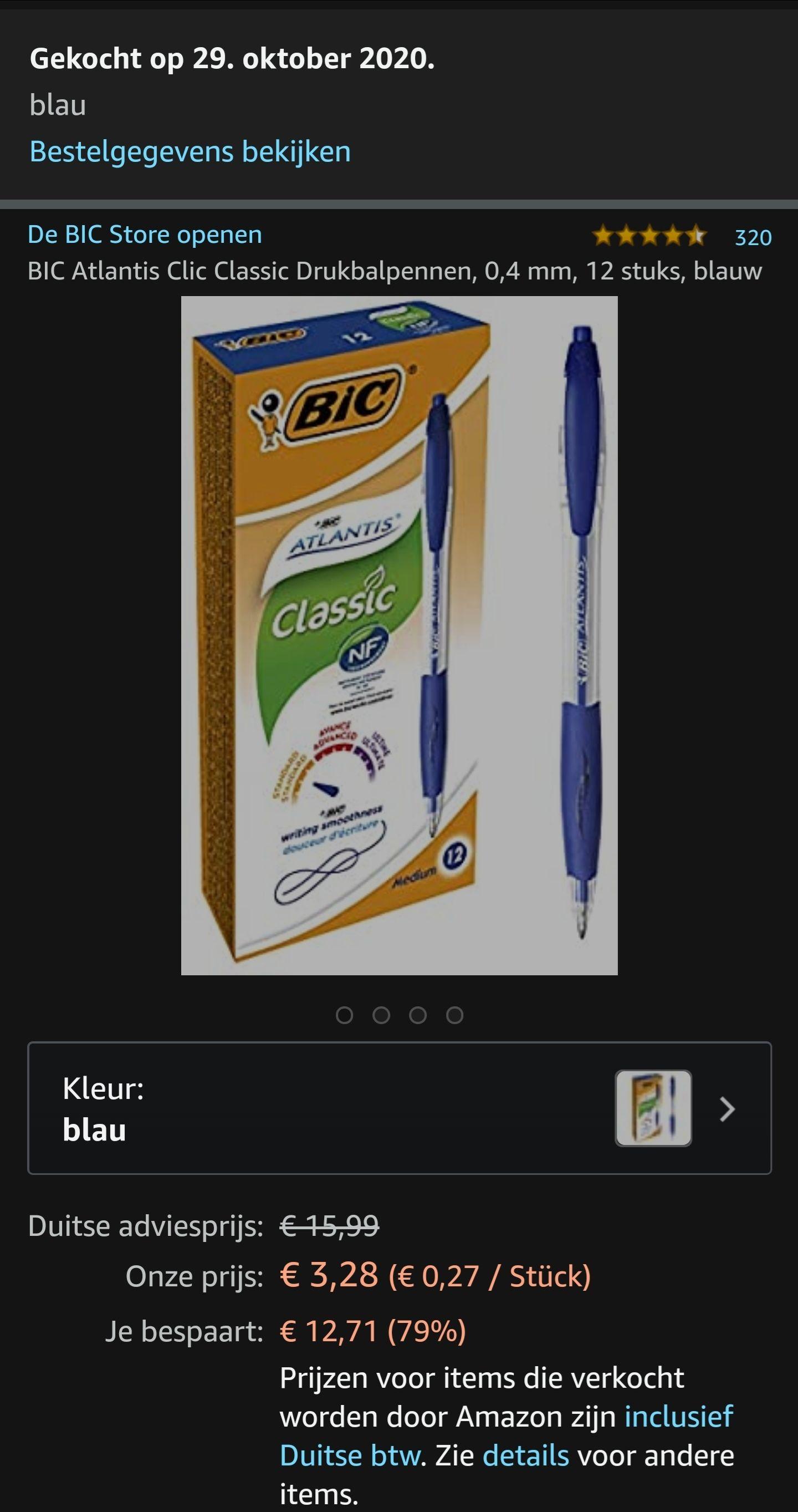 12 BIC pennen €3,12 @ Amazon.de