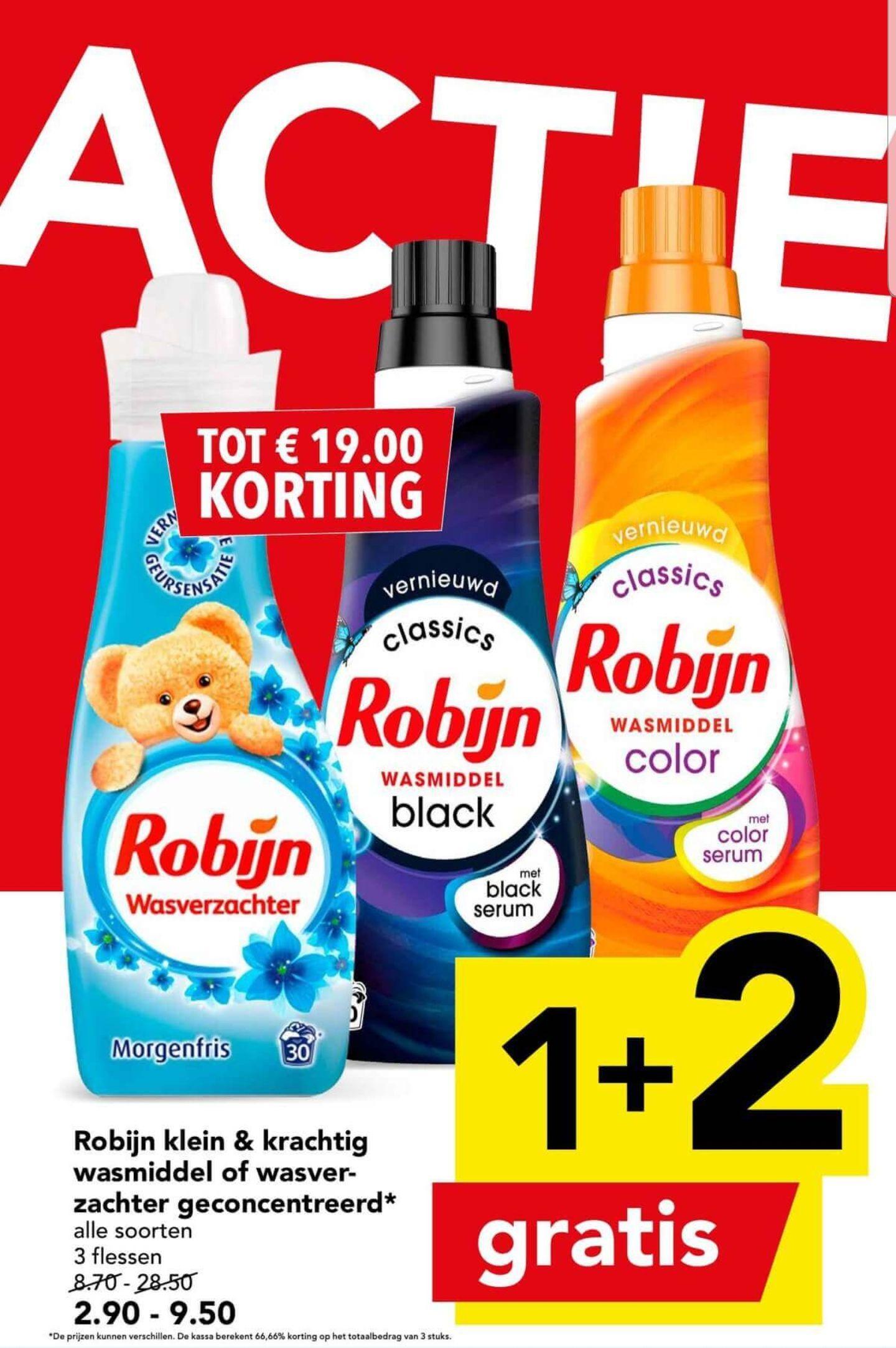 Robijn klein en krachtig wasmiddel of wasverzachter geconcentreerd 1+2 gratis bij Deen