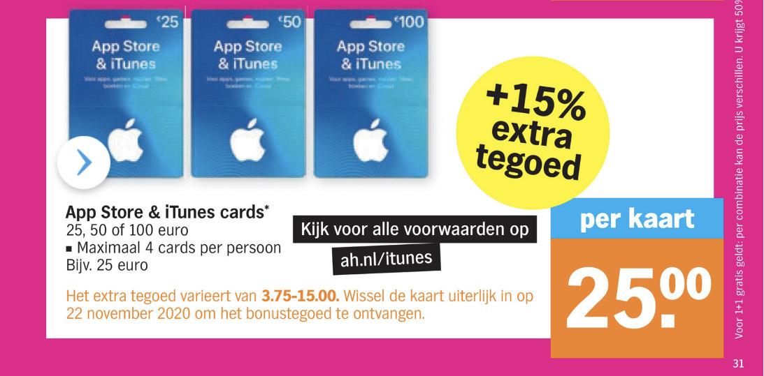 Apple App Store + 15% extra tegoed @Albert Heijn
