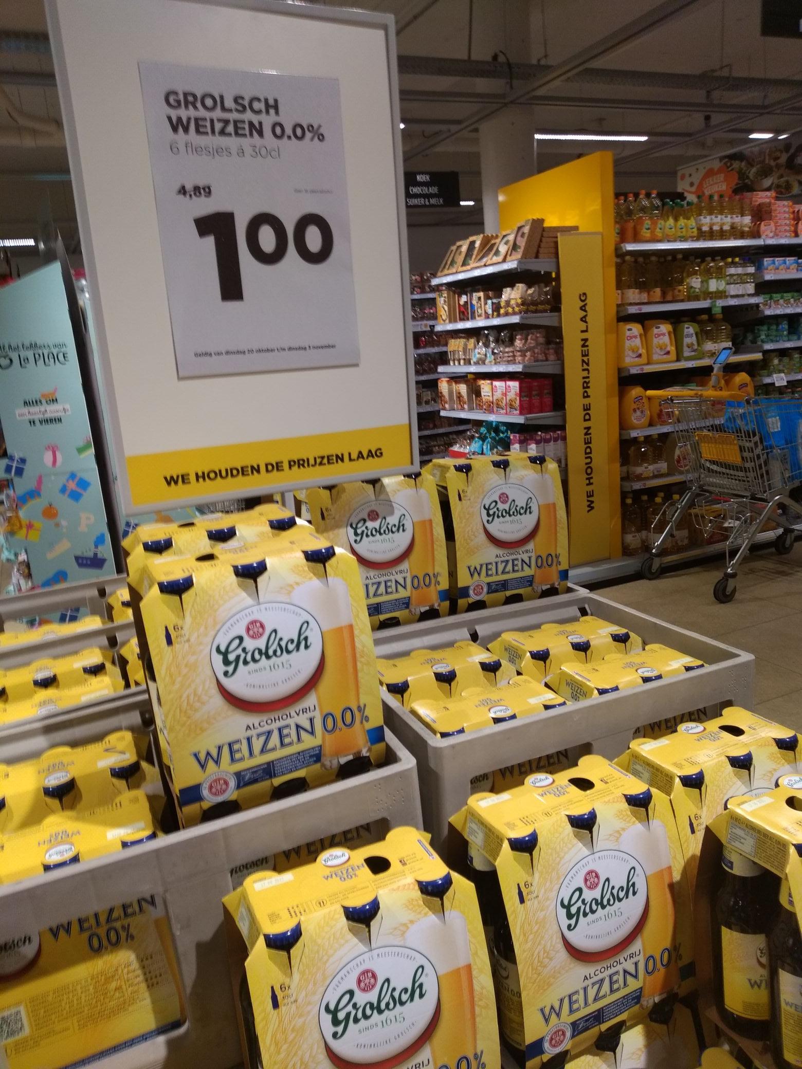Sixpack Grolsch Weizen 0,0% een euro. Bij Jumbo centrum Hoofddorp (lokaal)