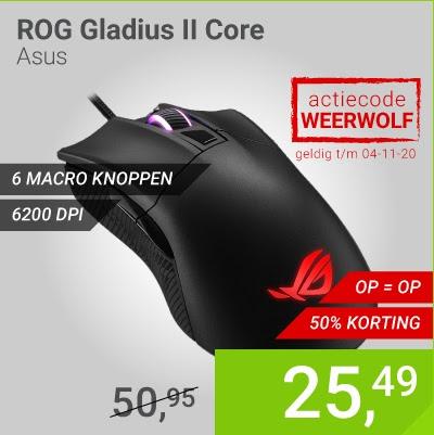 Asus ROG Gladius II Core optische gaming-muis @ Megekko
