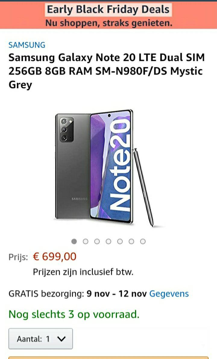 Samsung Galaxy Note 20 LTE 256GB 8GB €699