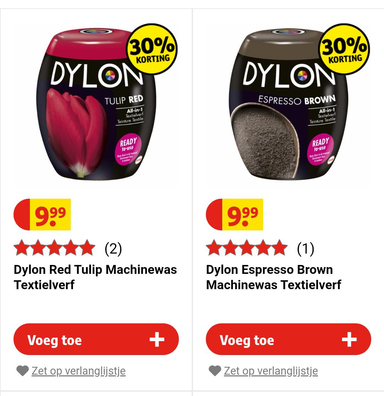 Dylon textielverf 30% korting