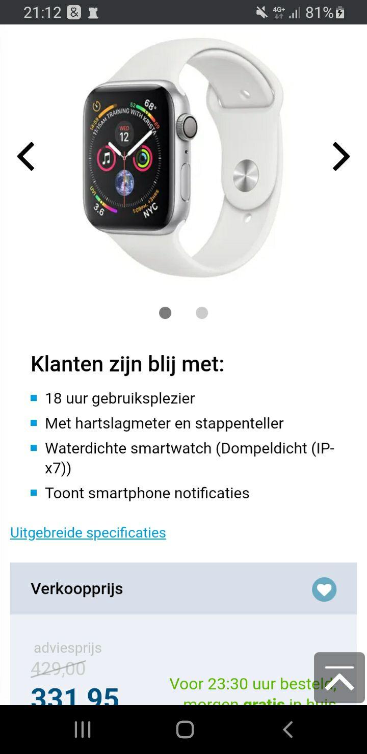 Apple Watch Series 4 Sport 40mm Silver Aluminium (White Silicone Strap)