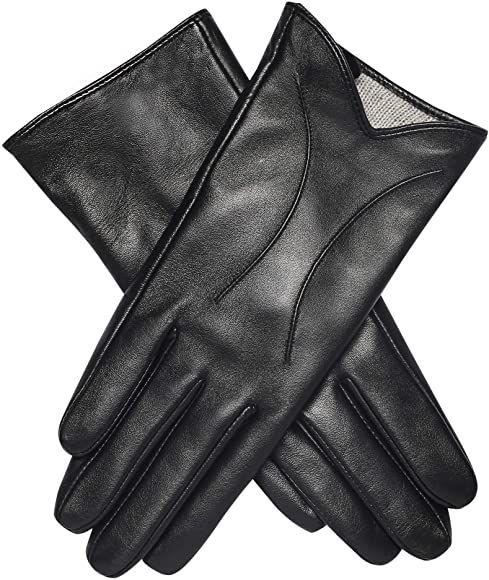 Acdyion lederen dames handschoenen zwart