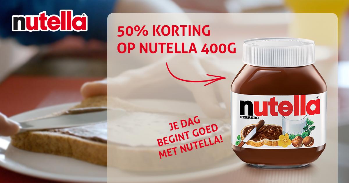 50% cashback op Nutella (400g) @ Korting is Leuk
