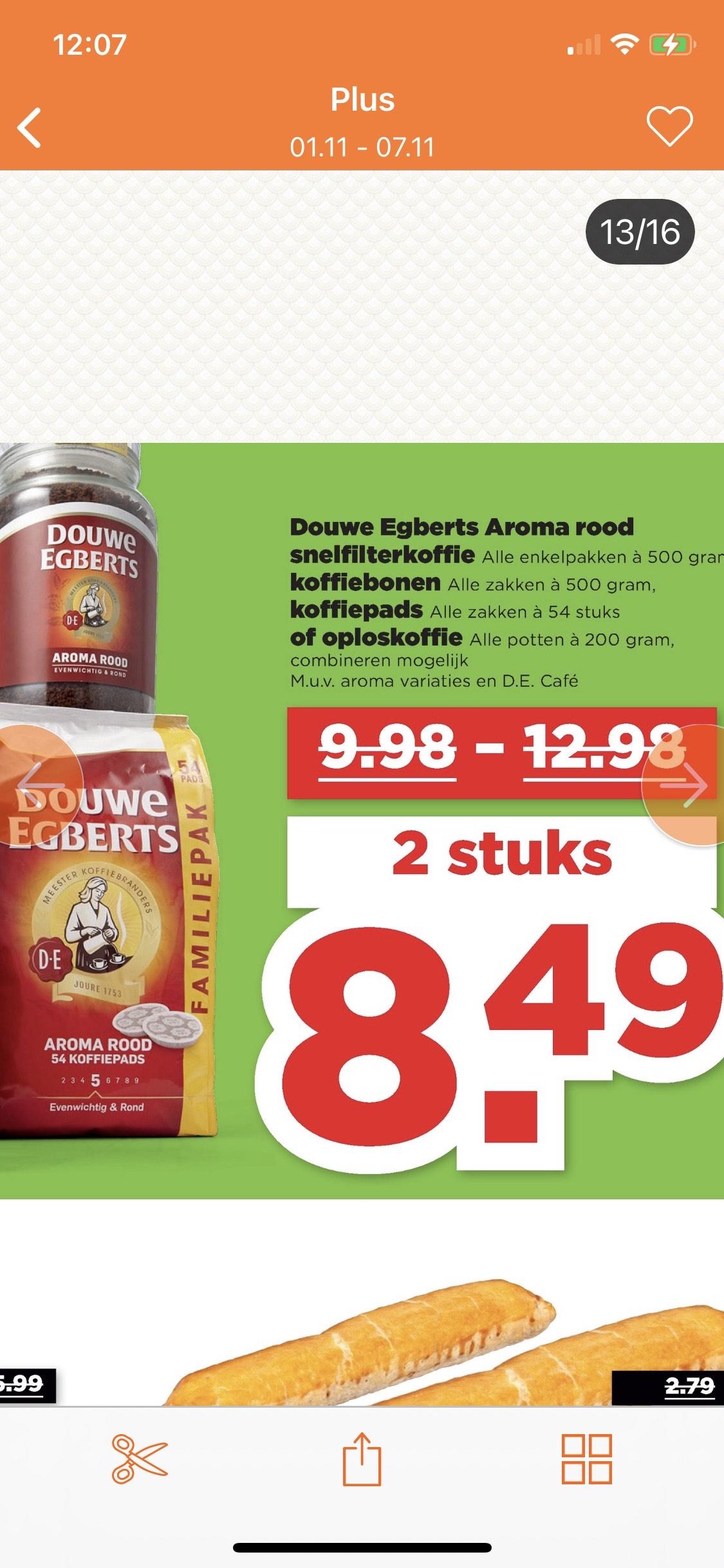 Douwe Egbert koffie 2 stuks €8,45 @Plus