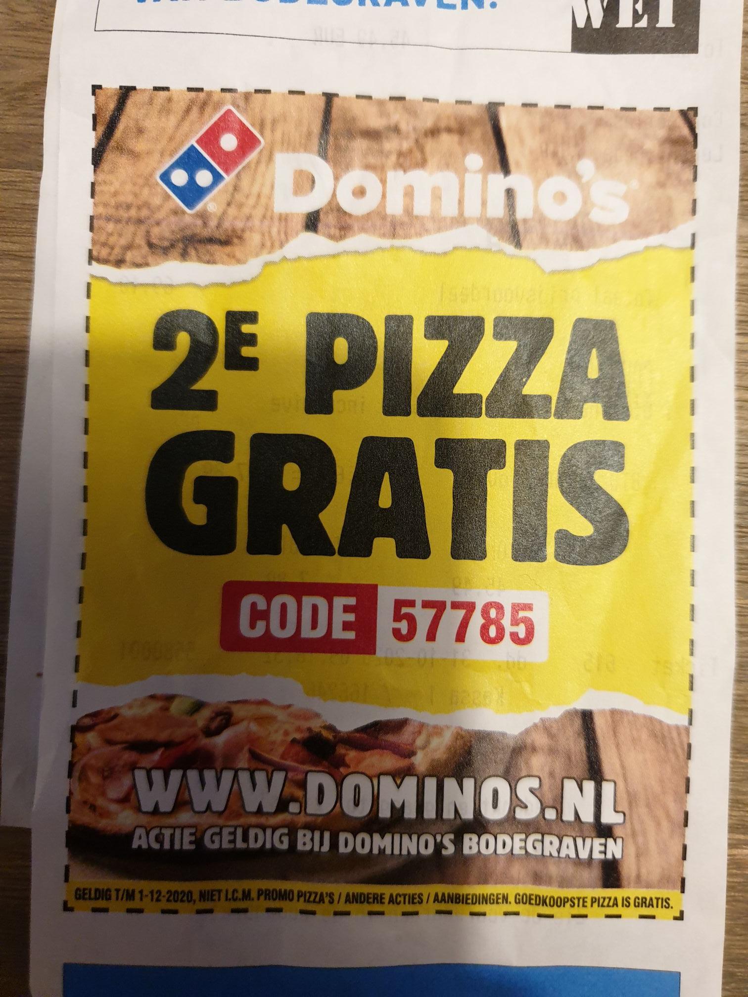 Lokaal, 2de pizza gratis bij Domino's Bodegraven