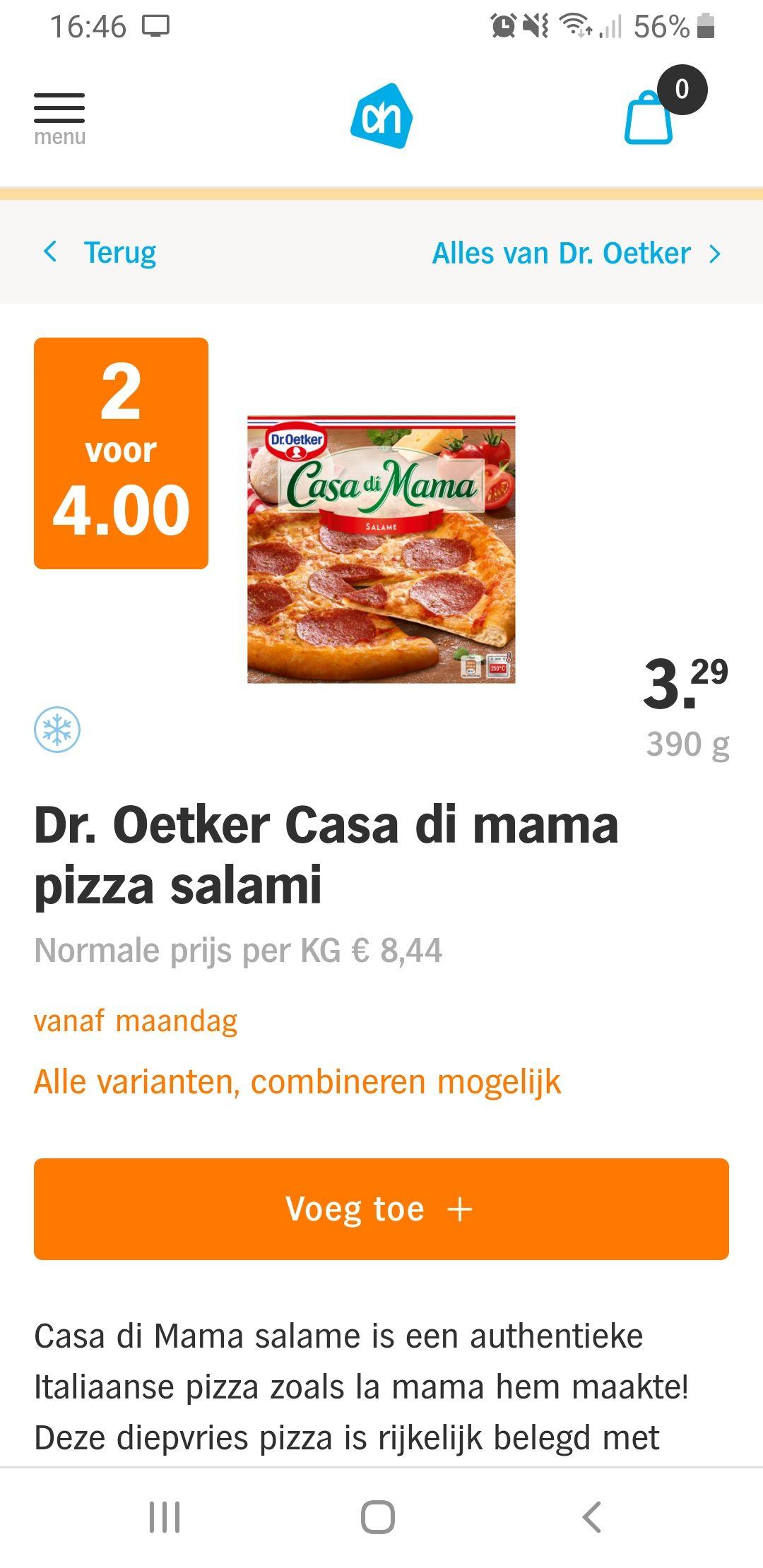 AH Bonus: Dr. Oetker Traditionale en Casa di mama 2 voor €4,-