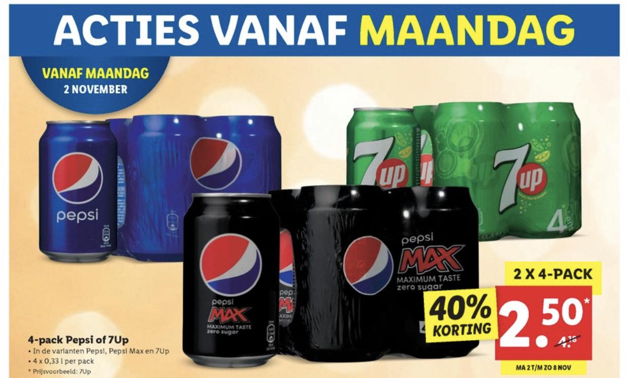 o.a Pepsi Max 2x 4 blikjes 2,50 bij Lidl